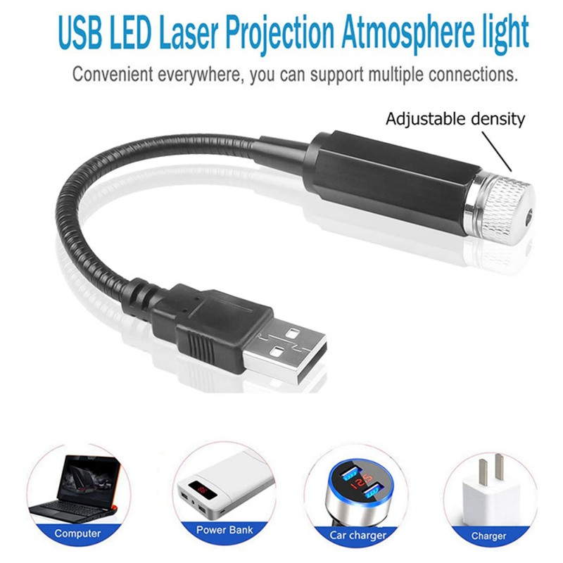 USB Car Roof Star Ceiling Light Atmosphere Starry Sky Projec